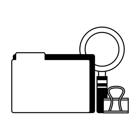 office supllies folder clip and magnifying glass vector illustration