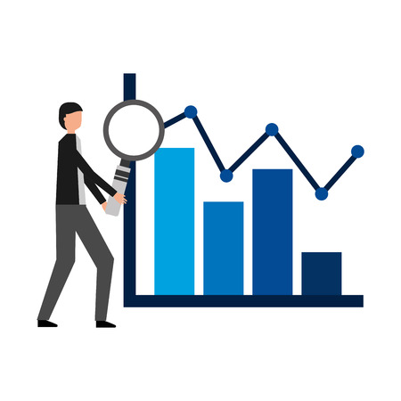 businessman with magnifying glass chart financial vector illustration