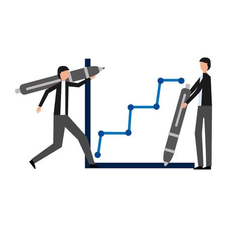 businessmen holding pen statistics report vector illustration