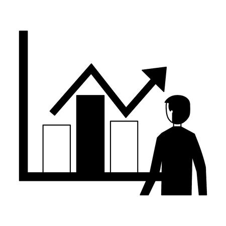 businessman with statistics diagram information vector illustration