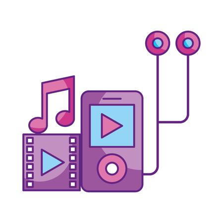 mp3 video music headphones social media vector illustration