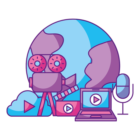 world projector laptop cloud microphone social media vector illustration