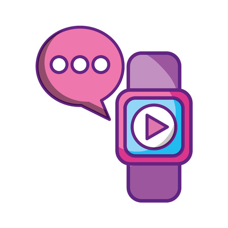 smart watch video message social media vector illustration Banque d'images - 114667585
