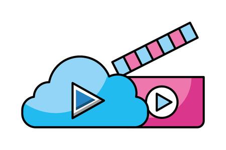 cloud storage video clapperboard social media vector illustration