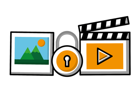 movie picture security social media vector illustration