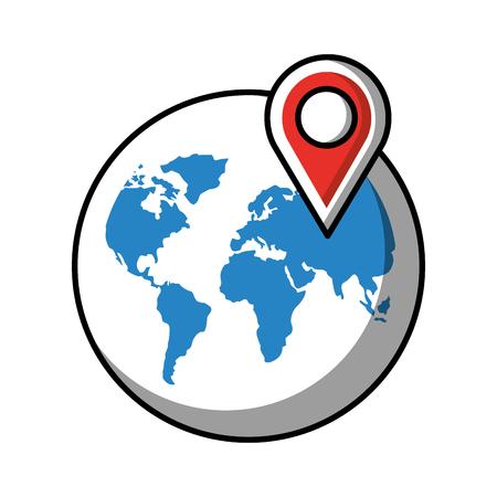 world pointer navigation storage social media vector illustration Banque d'images - 114667481