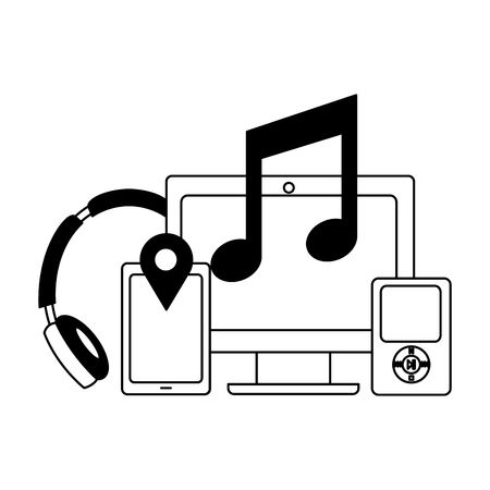 computer music mobile headphones social media vector illustration Stock Illustratie