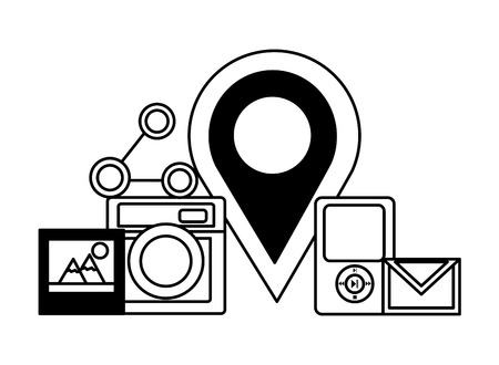 pin location email music picture share social media vector illustration