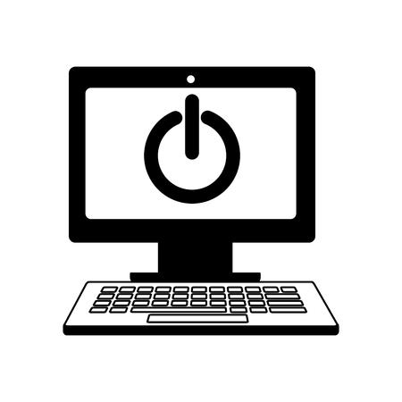 computer start button social media vector illustration 向量圖像