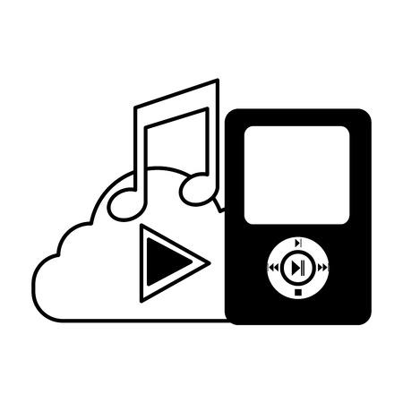 illustration vectorielle de stockage en nuage de musique mp3 médias sociaux