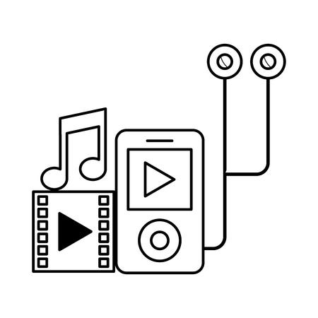 mp3 video music headphones social media vector illustration Standard-Bild - 114667512