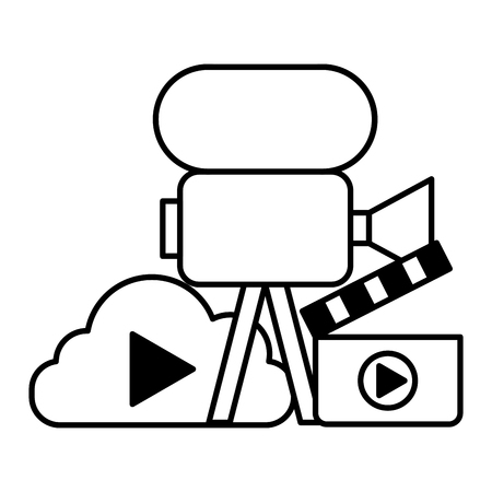 film camera cloud storage clapperboard social media vector illustration Illustration