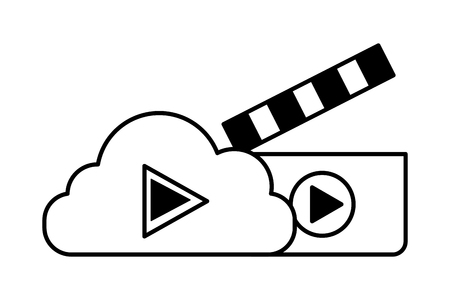 cloud storage video clapperboard social media vector illustration
