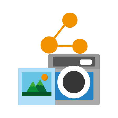 photography camera picture share social media vector illustration Illustration