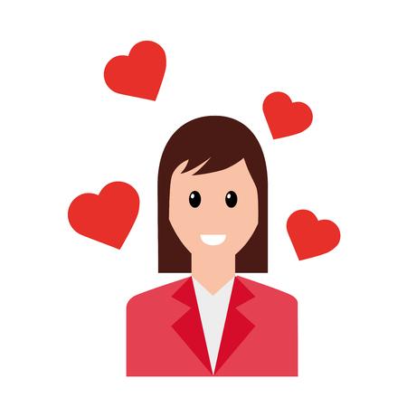 woman love hearts social media vector illustration Illustration