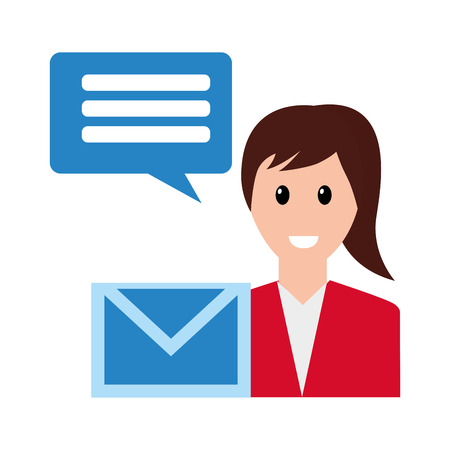 woman email chat share social media vector illustration