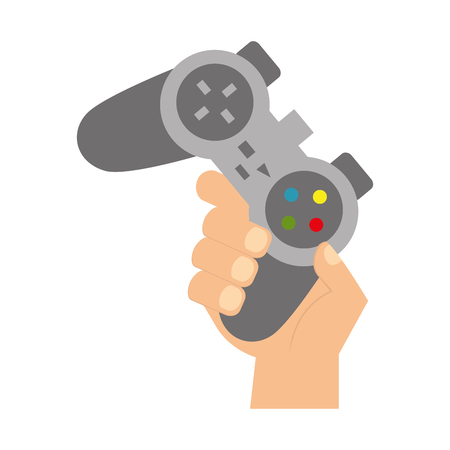 hand holding control video game vector illustration