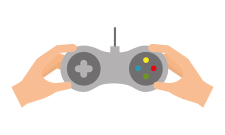 hands holding control video game vector illustration Ilustração