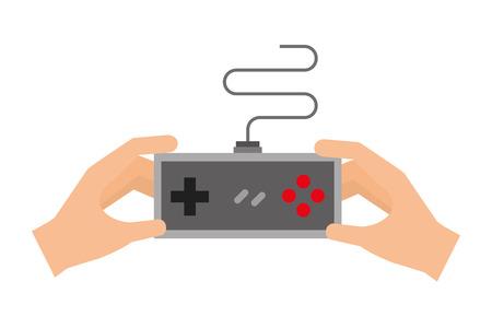 hands holding control video game vector illustration Stock Illustratie