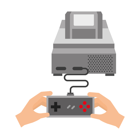 hands with controller console video game vector illustration