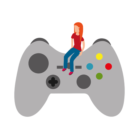 girl sitting on control video game vector illustration
