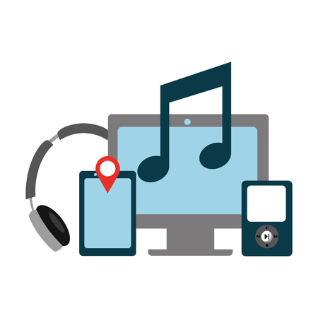 computer music mobile headphones social media vector illustration Vettoriali