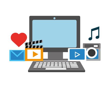 computadora, video, música, imagen, correo electrónico, redes sociales, vector, ilustración