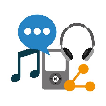 music headphones share chat social media vector illustration