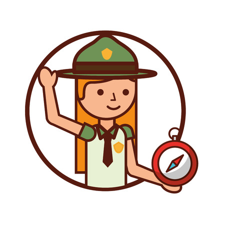 woman explorer with compass vacations vector illustration Standard-Bild - 126466220