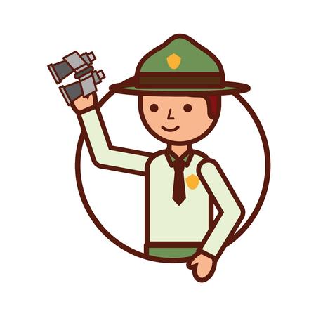 man tourist with binoculars travel vacations vector illustration