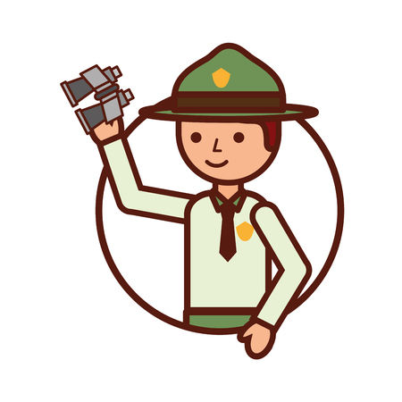man tourist with binoculars travel vacations vector illustration