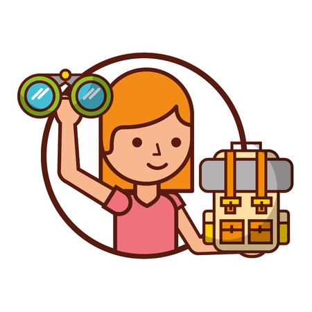 woman tourist with binoculars bag travel vacations vector illustration