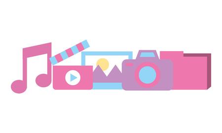 camera photo folder music movie social media vector illustration