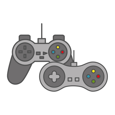 two contoller device video game vector illustration 일러스트