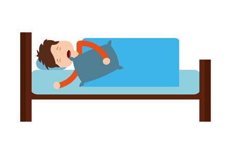 man sleeping in bed with pillow vector illustration