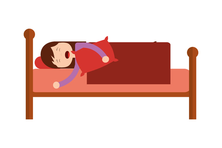 woman sleeping in bed with pillow vector illustration Ilustração
