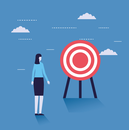 business woman with target strategy vector illustration
