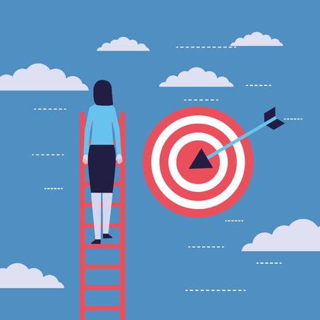 businesswoman climb stairs target success vector illustration Illustration