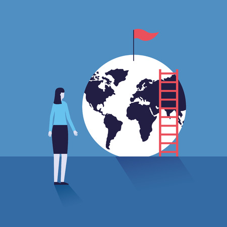 business woman with stairs world flag success vector illustration