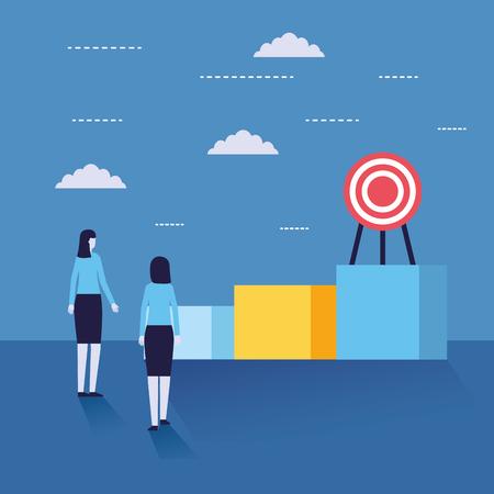businesswomen success strategy bar chart target vector illustration