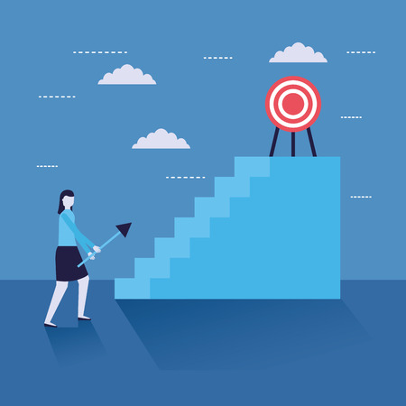 businesswoman with arrow target on stairs on top vector illustration
