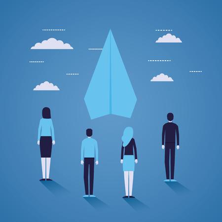 businesspeople paper plane startup background vector illustration