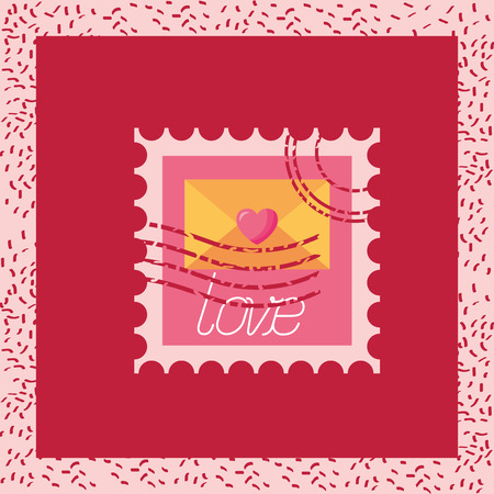 post stamp love valentine day vector illustration