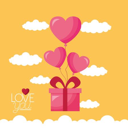 gift balloons hearts love valentine day vector illustration Zdjęcie Seryjne - 126419788