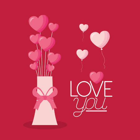 valentine day vase with hearts love vector illustration