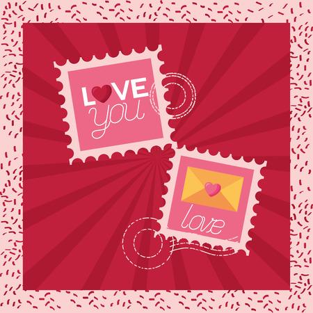 post stamp love message valentine day vector illustration