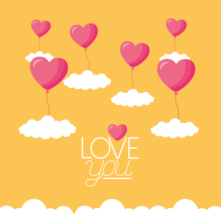 valentine day flying balloons hearts sky vector illustration