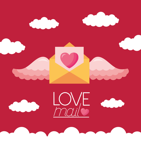 valentine day love mail heart with wings vector illustration Foto de archivo - 126419799
