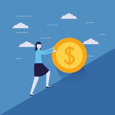 businesswoman pushing coin money success vector illustration Ilustração