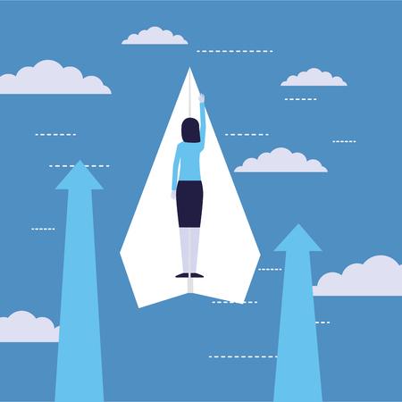businesswoman success flying on paper plane vector illustration  イラスト・ベクター素材
